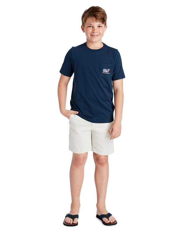 Boys Summer 2019 Flag Whale Pocket T-Shirt