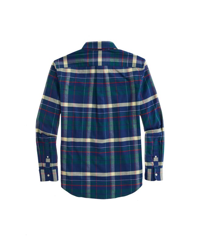 OUTLET Classic Fit Sea Craft Plaid Stretch Flannel Whale Shirt