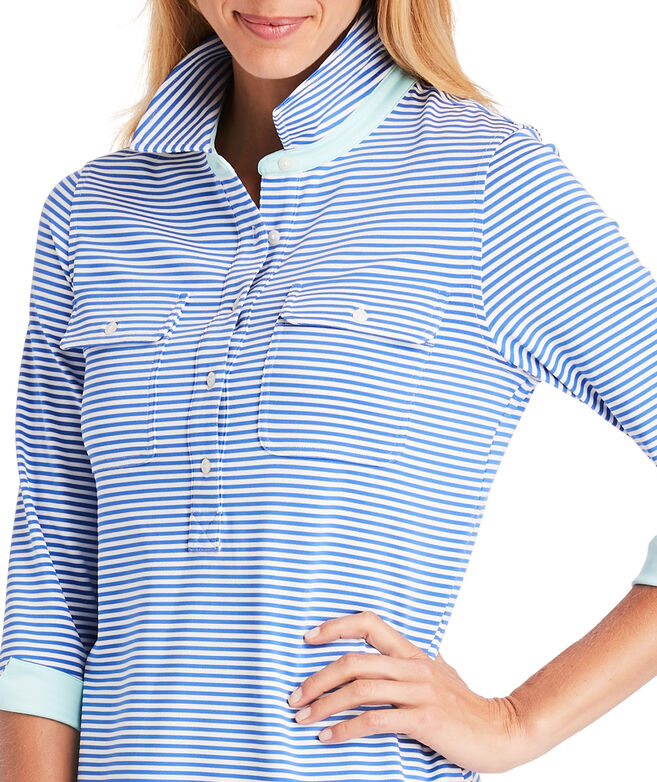 UPF Vineyard Feeder Stripe Shirt Dress