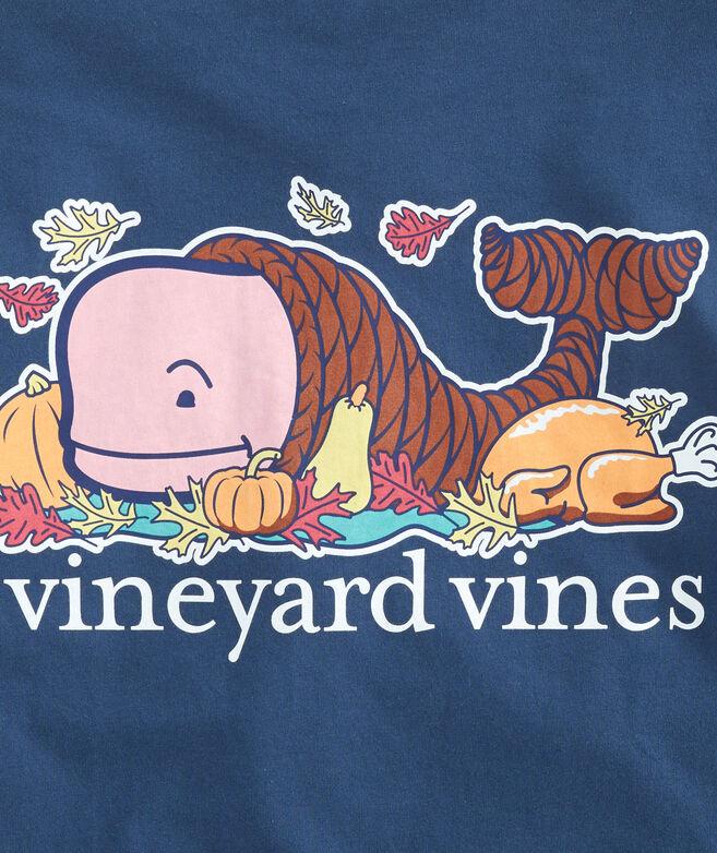 Thanksgiving Cornucopia Whale Long-Sleeve Pocket T-Shirt