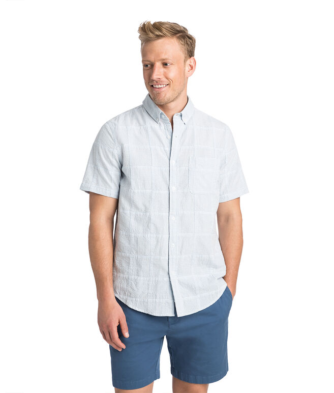 Short-Sleeve Stripe Patchwork Slim Murray Shirt