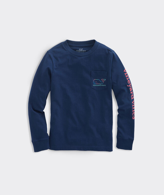 Boys' Three Tone Ombre Whale Long-Sleeve Pocket Tee