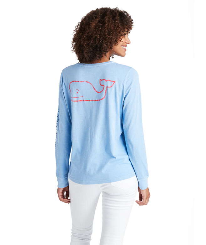 Tri-Color Vintage Whale Long-Sleeve Pocket Tee