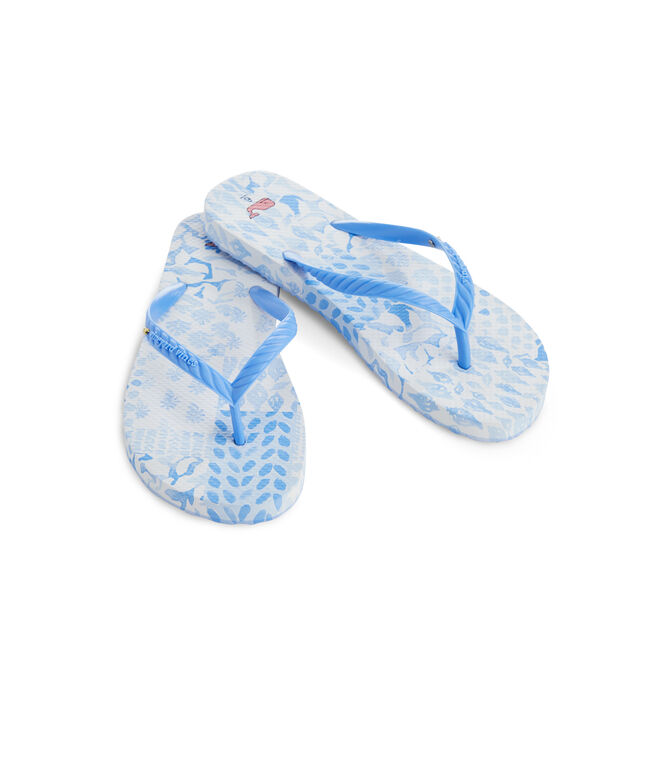 Painted Patchwork Womens Flip Flops