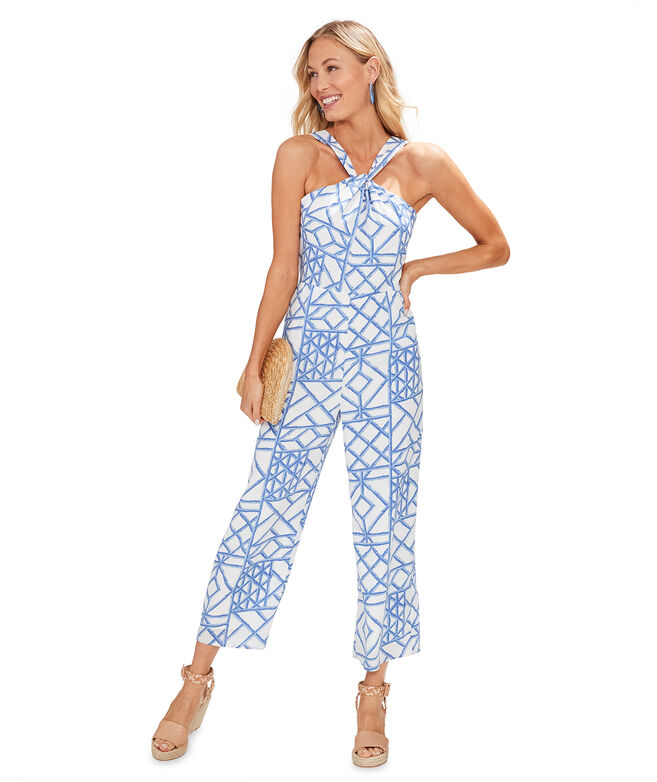 Bamboo Lattice Halter Jumpsuit