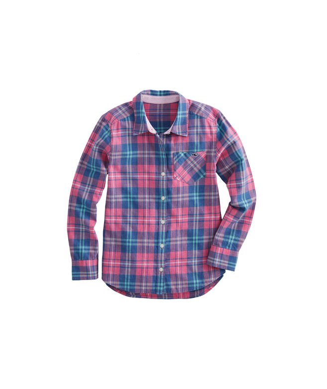 Girls Pacific Plaid Button Down Shirt