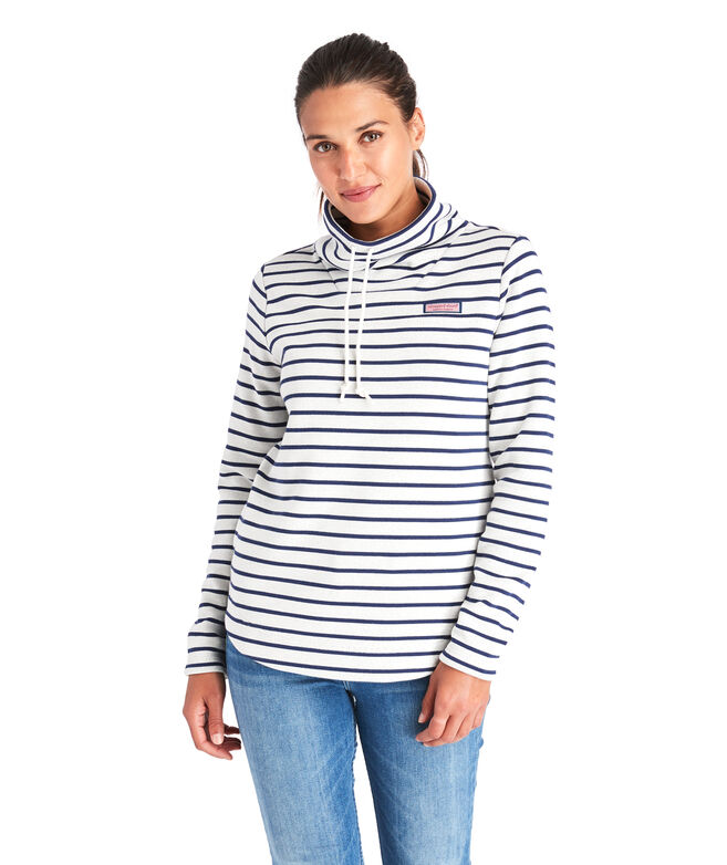 Stripe Sweater Fleece Relaxed Funnel Neck Shep Shirt