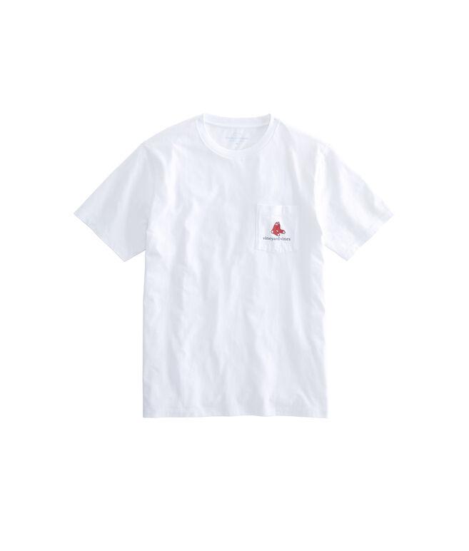 Adult Boston Red Sox Baseball Cap Pocket T-Shirt