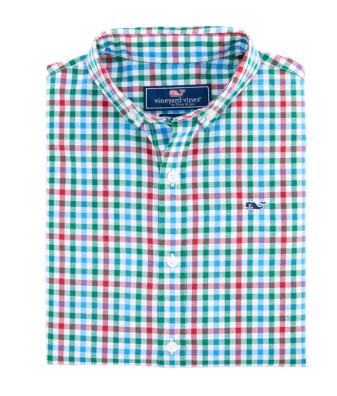 Boys Higgins Beach Gingham Poplin Whale Shirt