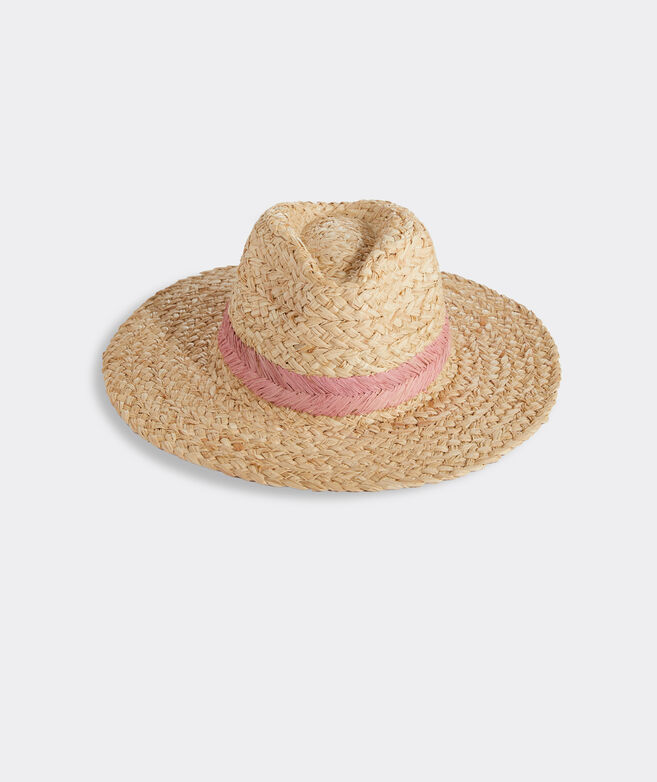 Embroidered Chevron Straw Fedora