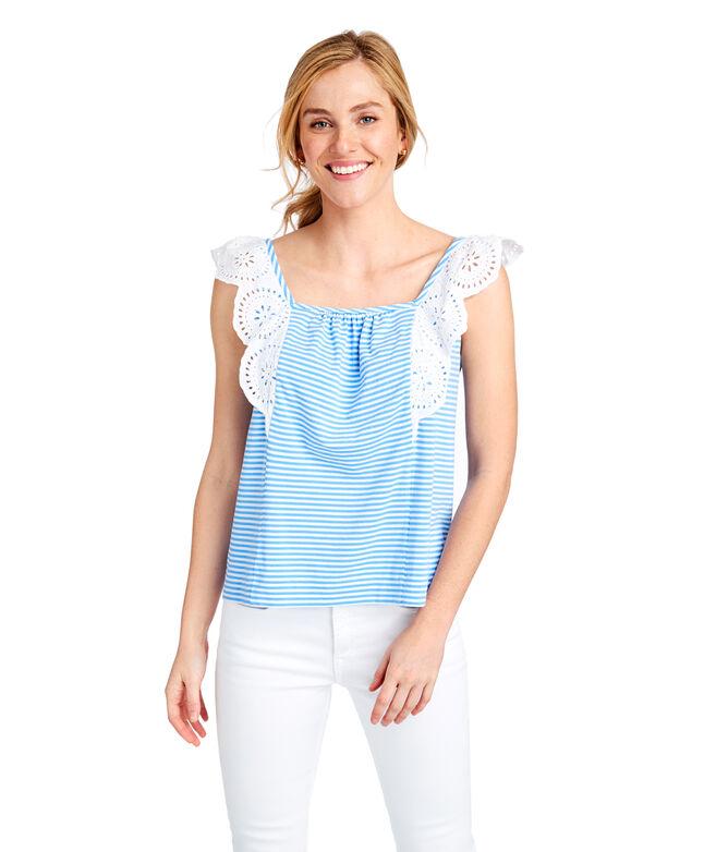 Stripe Mixed Media Flutter Sleeve Top