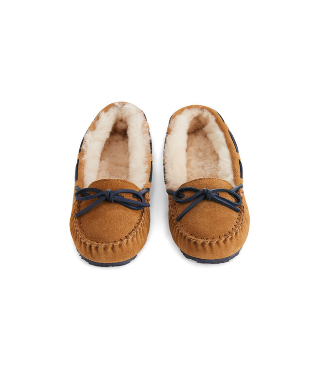 Girls Natural Suede Slippers