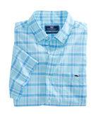 Short-Sleeve Flat Point Plaid Classic Tucker Shirt