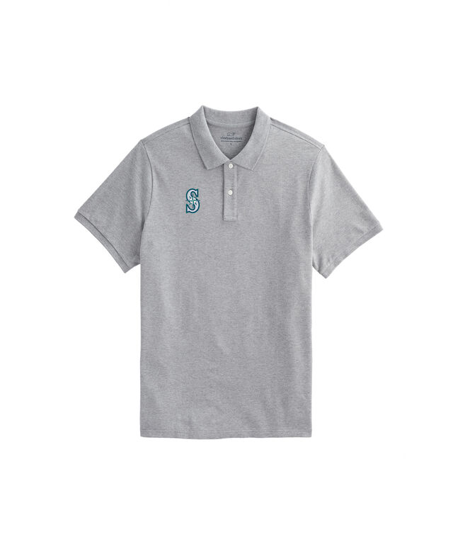 Seattle Mariners Stretch Pique Heathered Polo