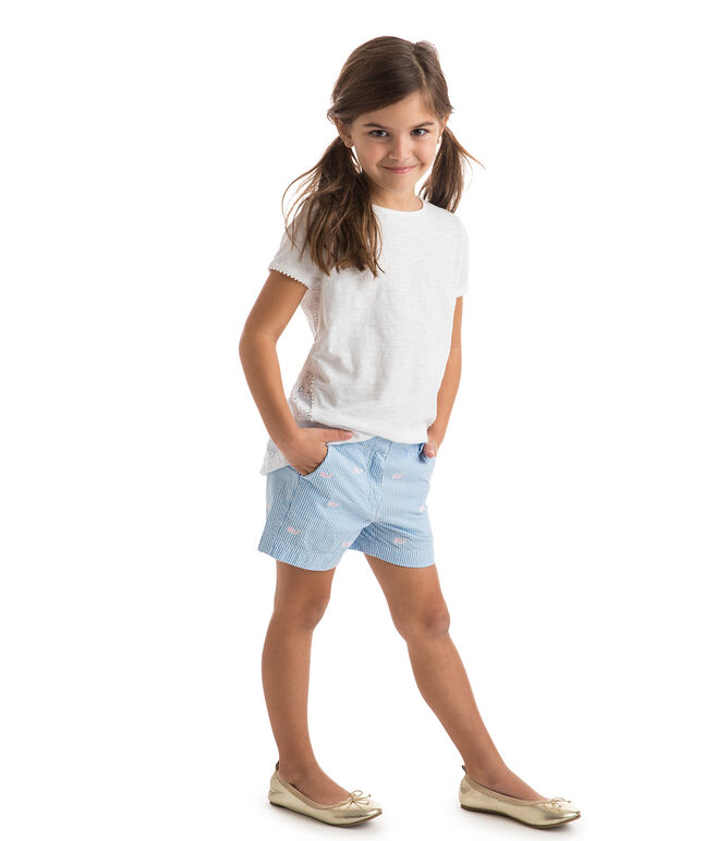 Girls Seersucker Whale Embroidered Every Day Shorts