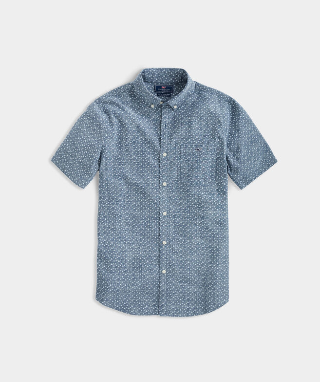 Slim Fit Strong Breeze Chambray Tucker Short-Sleeve Button-Down Shirt