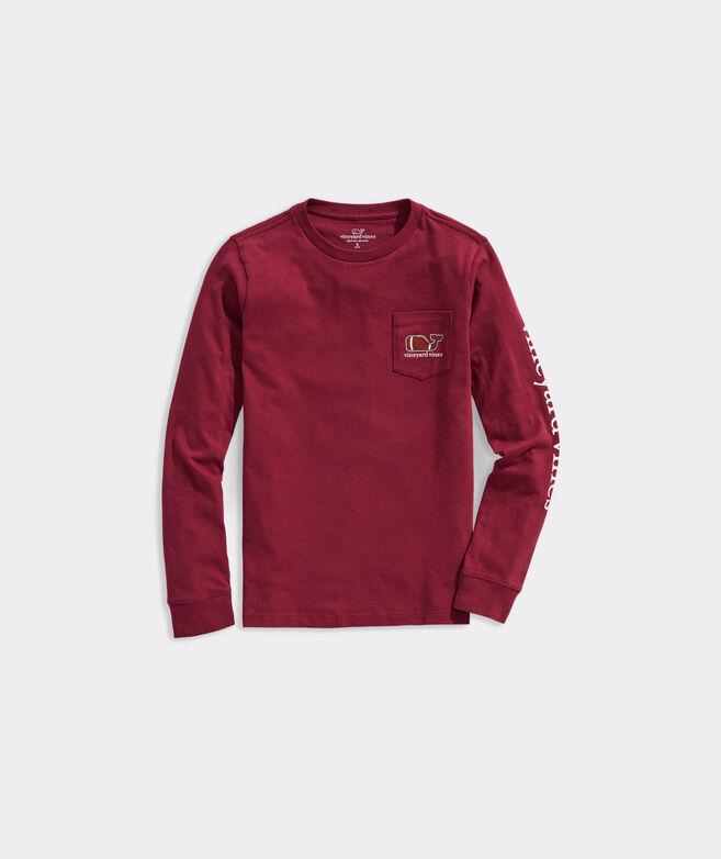 Boys' Long-Sleeve Football Whale Pocket T-Shirt