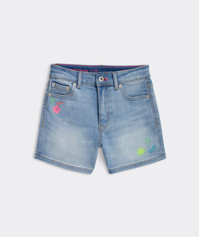 Girls' Embroidered Denim Shorts