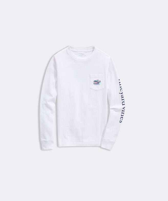 Kids' Pond Hockey Whale Long-Sleeve Pocket Tee