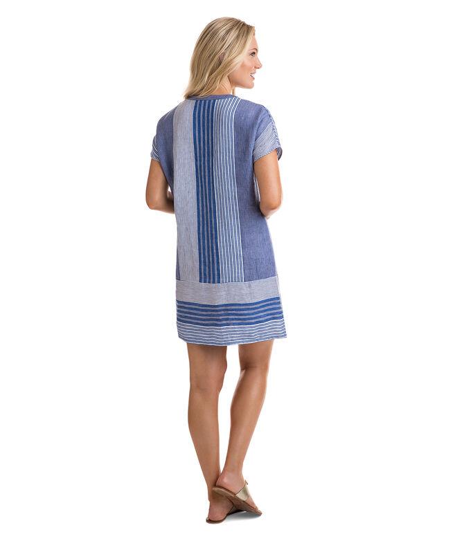 Stripe Mix Tassel Shift Dress