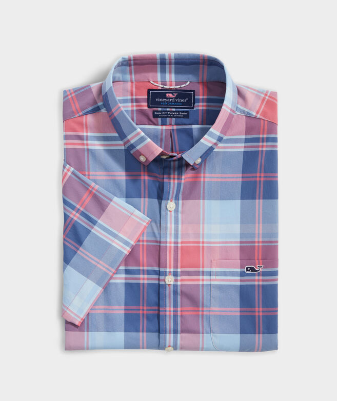 Slim Fit Rocky Plaid On-The-Go Performance Tucker Short-Sleeve Button-Down Shirt