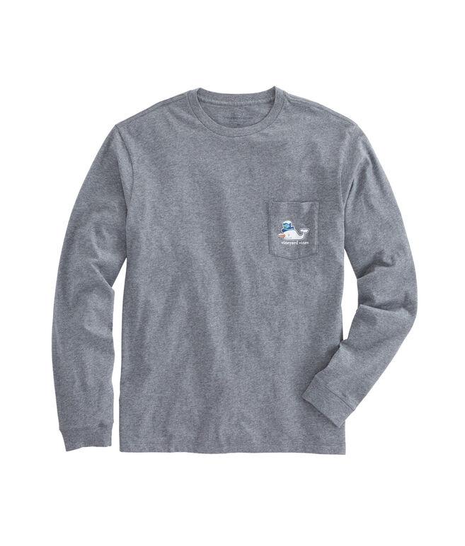 Long-Sleeve Snowman Whale 2016 Pocket T-Shirt
