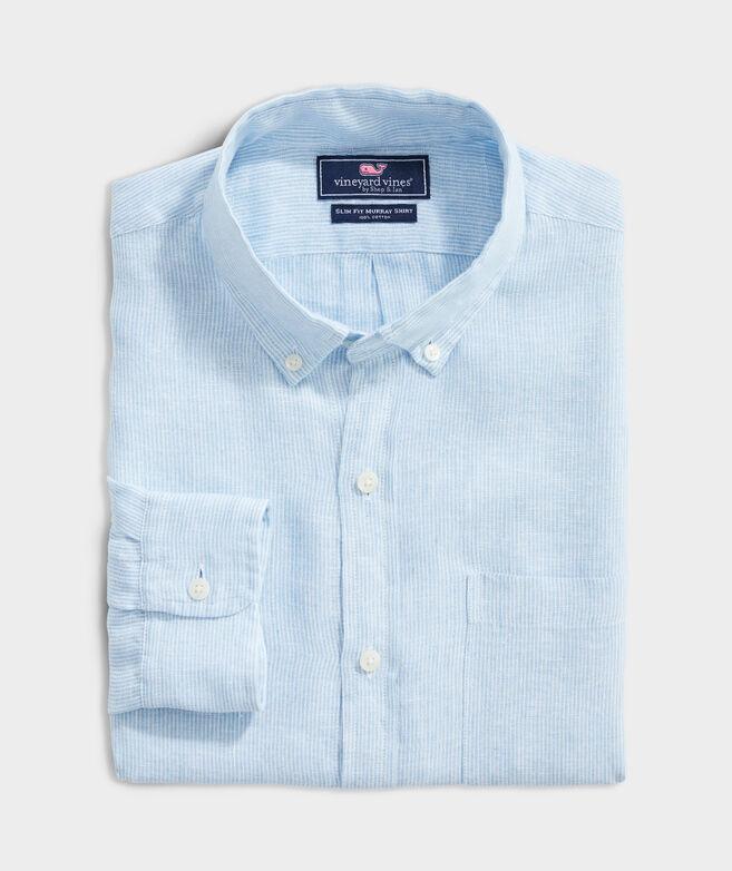 Slim Fit Stripe Shirt in Linen