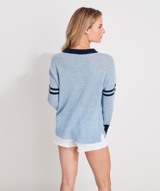 Lofty Cashmere Varsity Stripe Crewneck Sweater