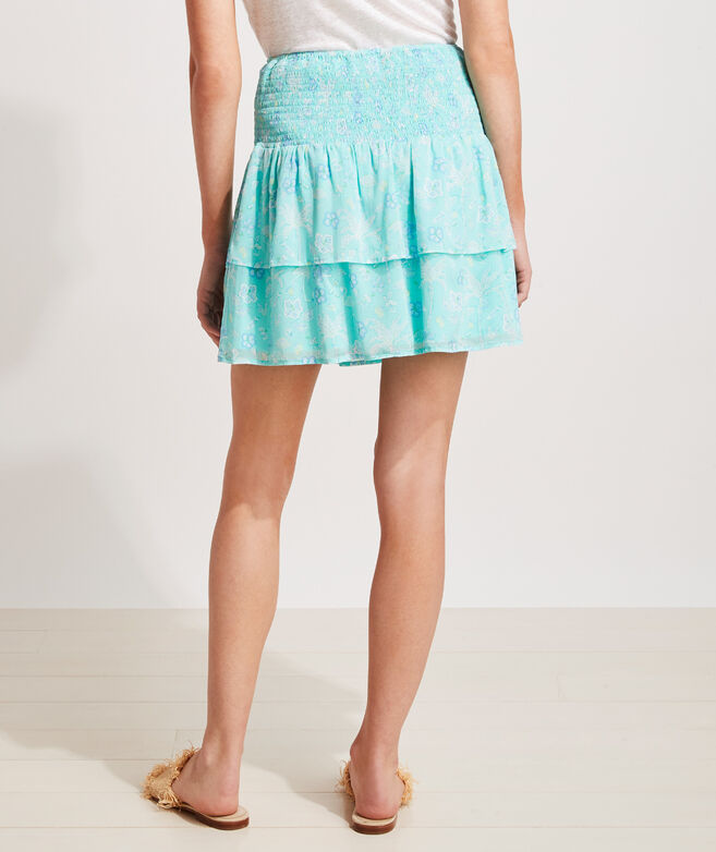 Flamingo Flock Smocked Flounce Skirt
