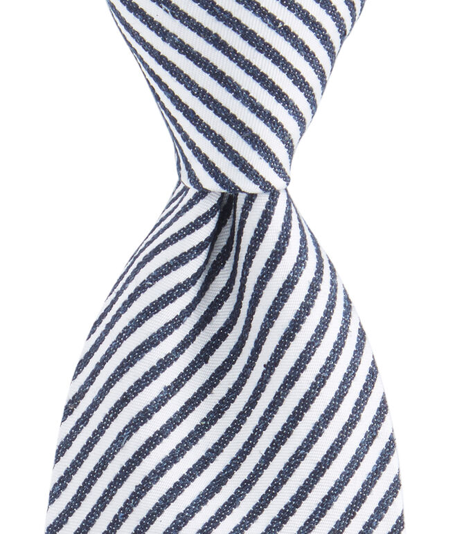 Thin Striped Woven Tie