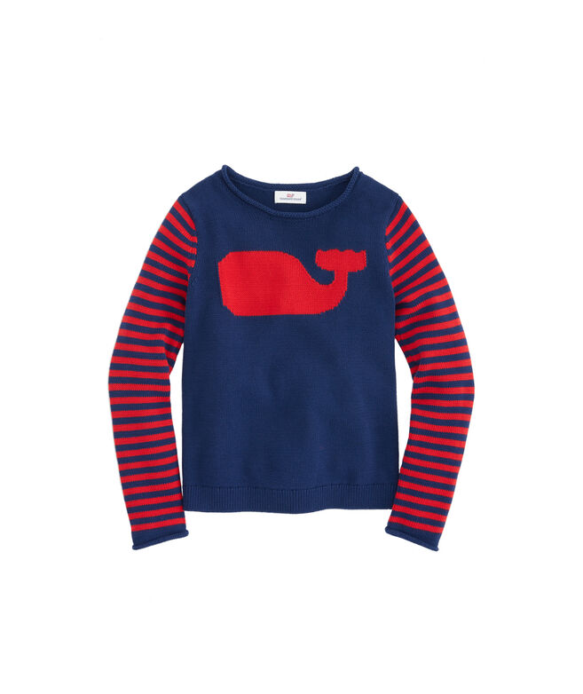 Girls Whale Stripe Intarsia Sweater
