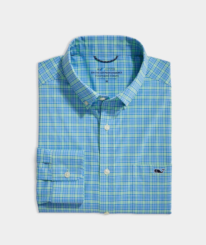 Classic Fit Small Check On-The-Go Shirt in Performance Nylon