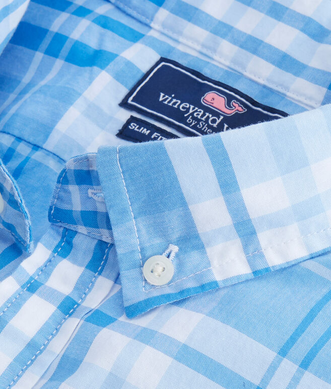 Short-Sleeve Crawfish Plaid Slim Tucker Shirt