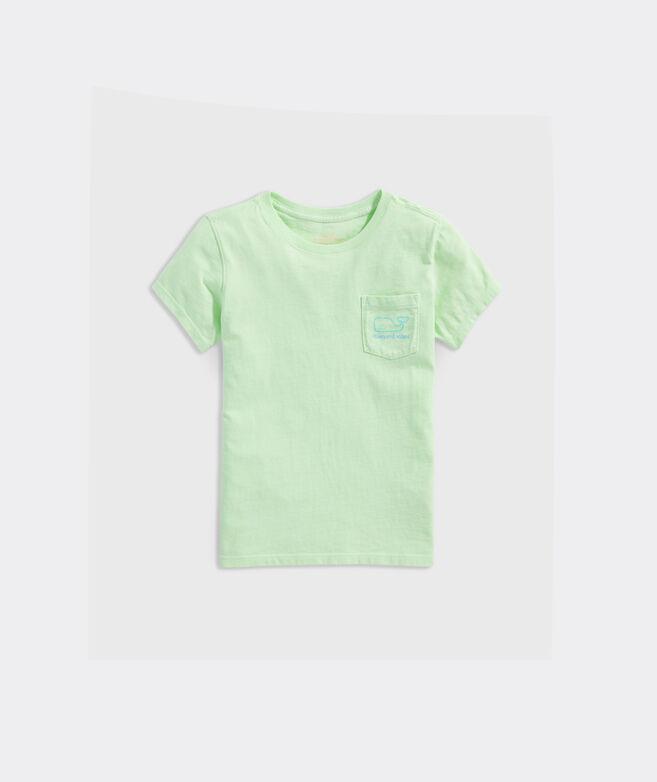 Girls' Garment-Dyed Vintage Whale Short-Sleeve Pocket Tee