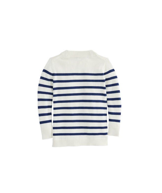 Girls Striped Open Cardigan