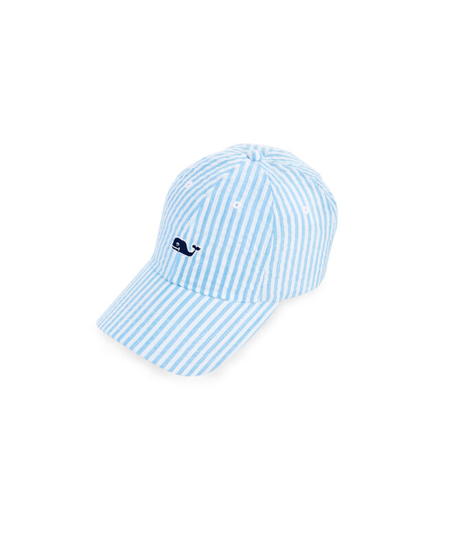 Little Kids Whale Logo Seersucker Hat