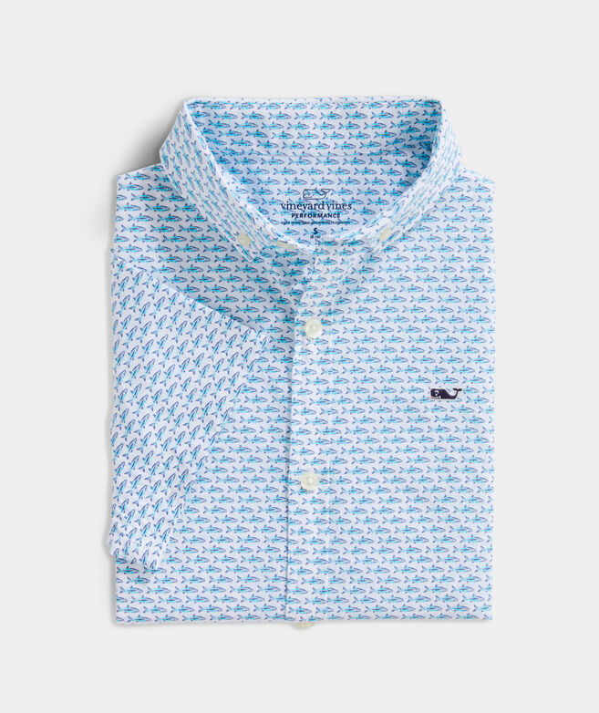 Boys' Mini Bonefish Batik Short-Sleeve Performance Whale Button-Down Shirt