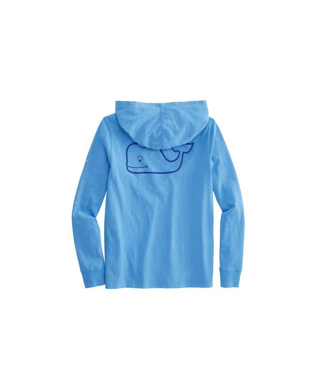 Girls Long-Sleeve Whale Hoodie Pocket Tee