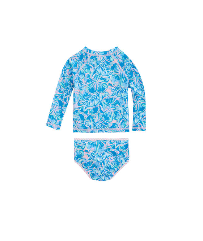 Baby Girls Tropical Turtle Rashguard Swim Set (3-24 MO)