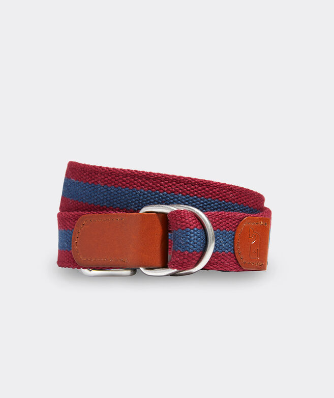 Boys' Washed Canvas Stripe D-Ring Belt