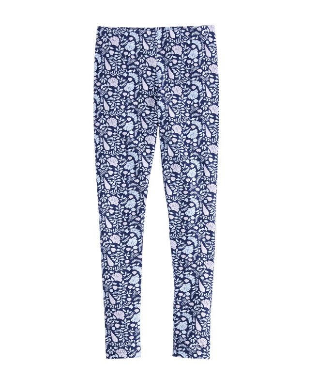 Girls Coastal Flora Printed All Day Leggings