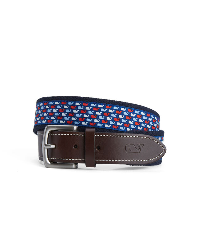 Red, White, Blue Whale Canvas Club Belt