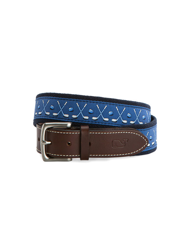 Crossed Hockey Sticks Canvas Club Belt
