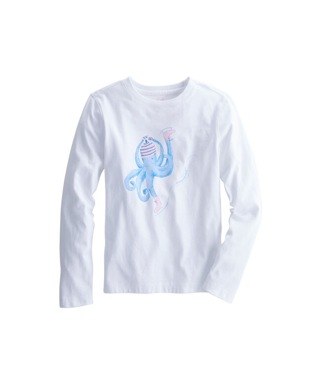 Girls Long-Sleeve Skating Octopus Tee