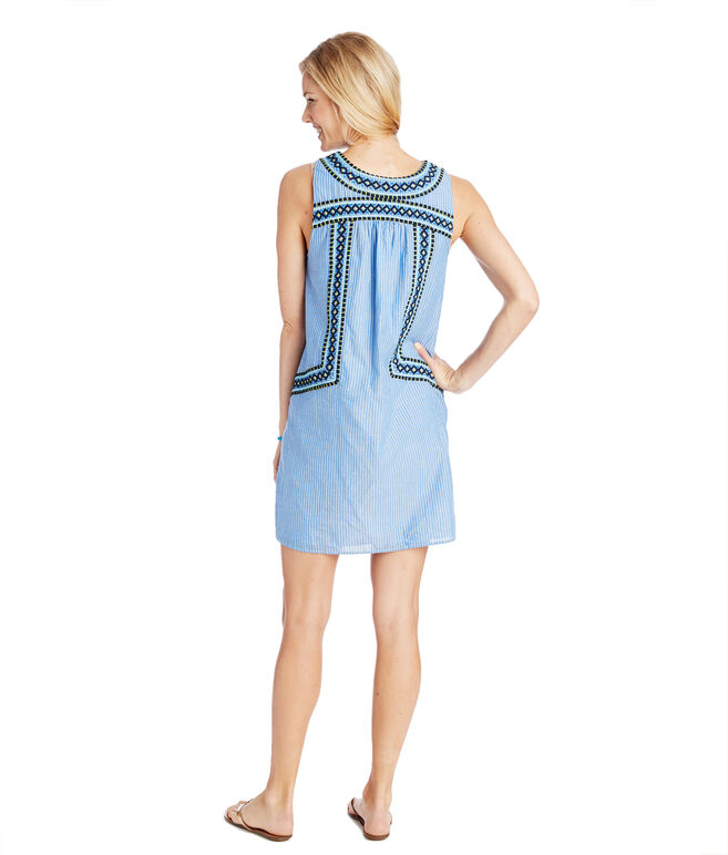 Yarn Dye Stripe Embroidered Shift Dress