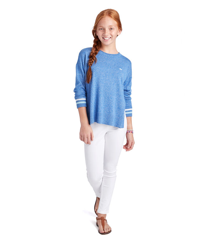 Girls Stripe Cuff Poncho Sweater