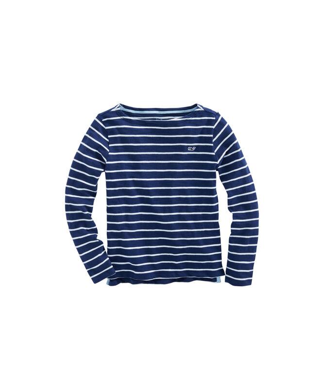 Girls Long-Sleeve Striped Boatneck Simple Tee
