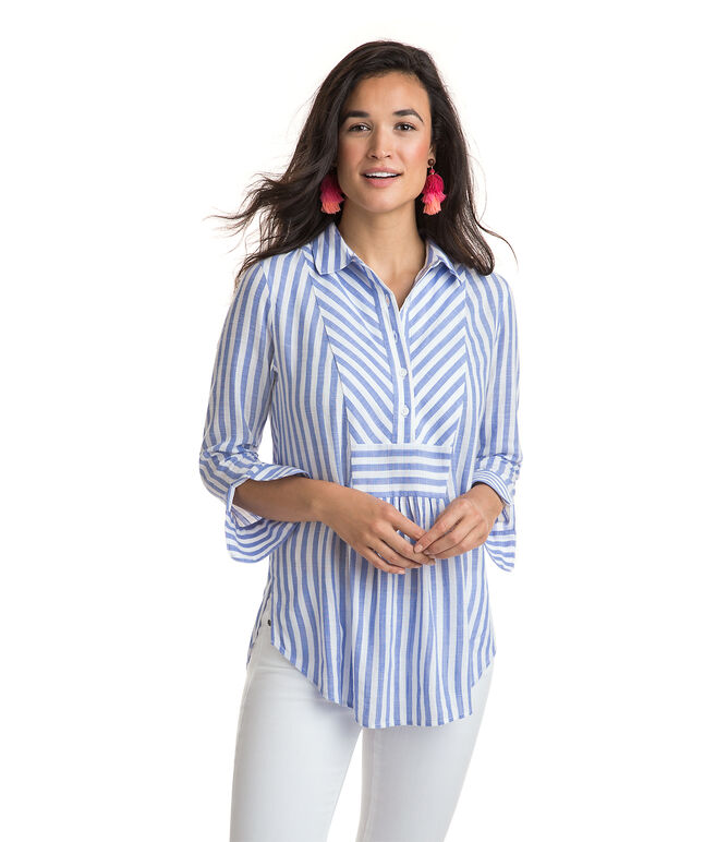 Stripe Mix Popover Tunic
