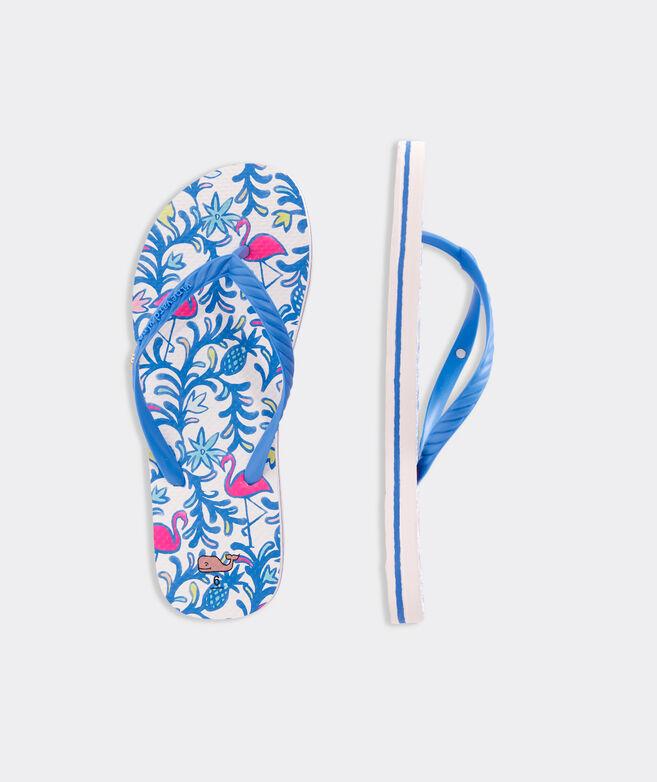 Floral Flamingos Printed Flip Flops