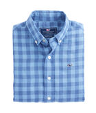 Boys Bayville Check Cotton/Linen Whale Shirt